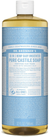 picture of bronner's pure castile unscented baby soap